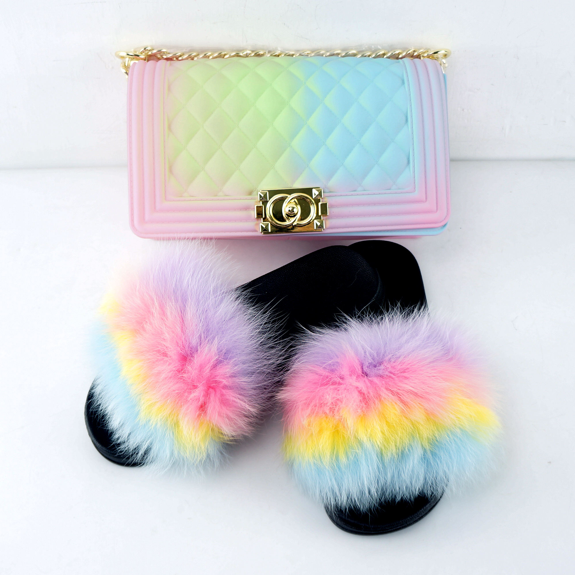 wholesale Rainbow color two piece set jelly purses handbags with matching real fur slides for women