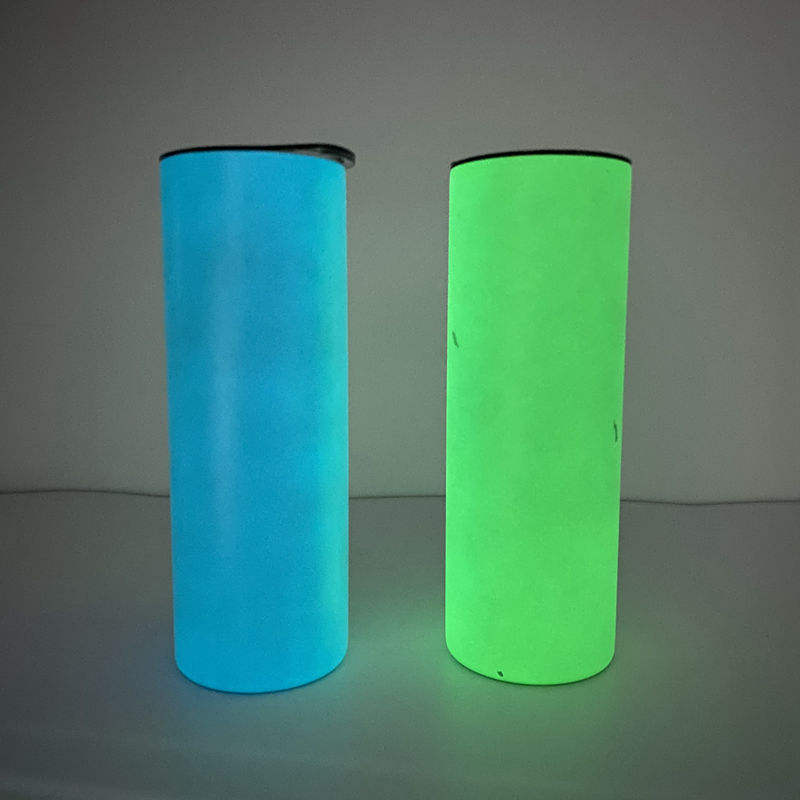 Glow in the dark straight stainless steel tumbler 20oz skinny sublimation style with lid and double wall coffee mugs