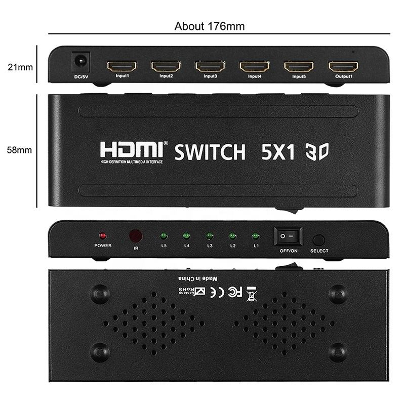 Xput 5 In <span class=keywords><strong>1</strong></span> Out <span class=keywords><strong>HDMI</strong></span> Video Switcher 5x1 <span class=keywords><strong>HDMI</strong></span> 5 Ports Switch 5x1 60Hz