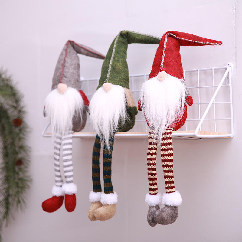 HB-7556 Christmas Decoration Cute Sitting Long-legged Elf Faceless dolls for Xmas Party ornaments