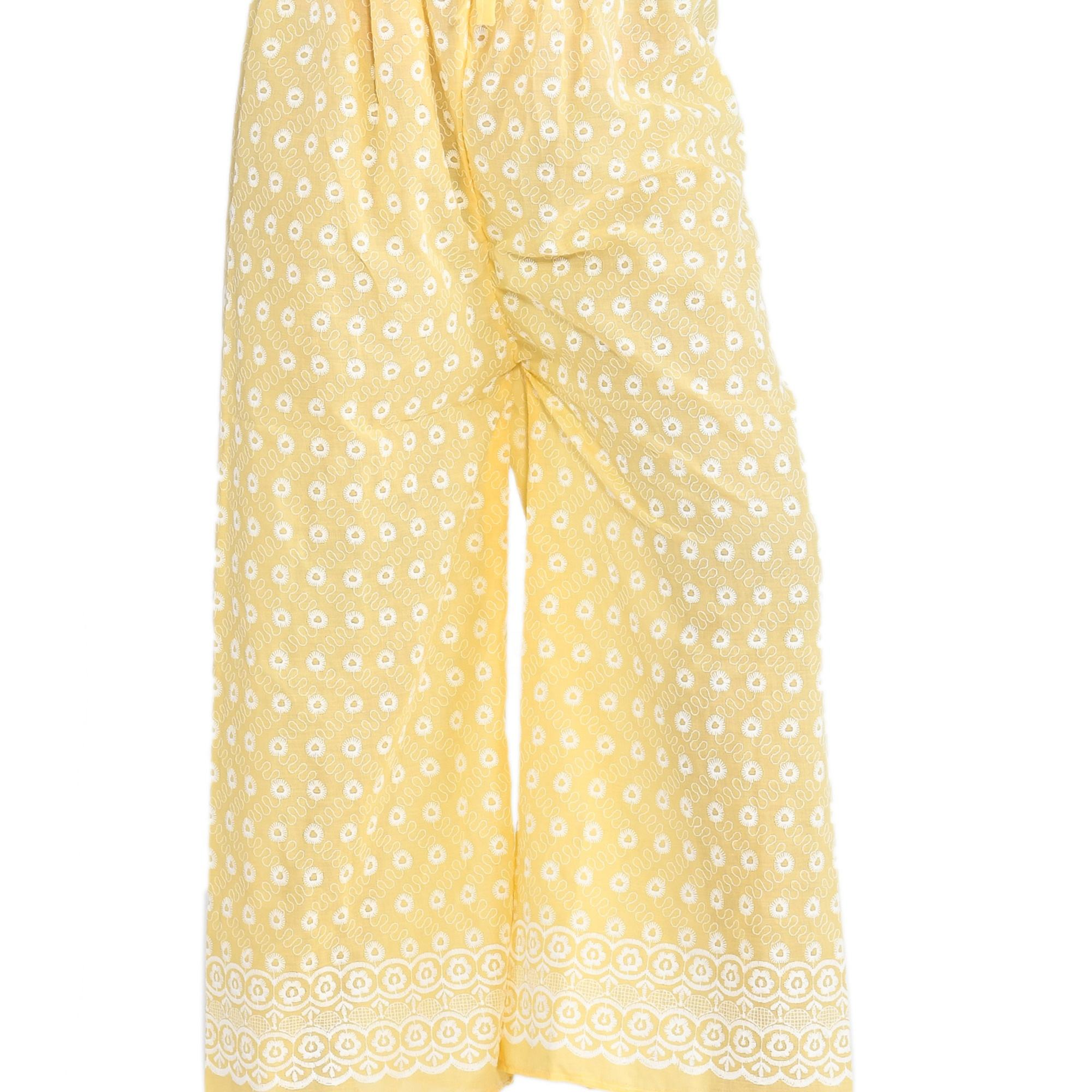 Latest Indian Traditional Chicken Embroidery Cotton Yellow Party Wear Women Long Trousers High Waist Palazzo Pant Wholesale