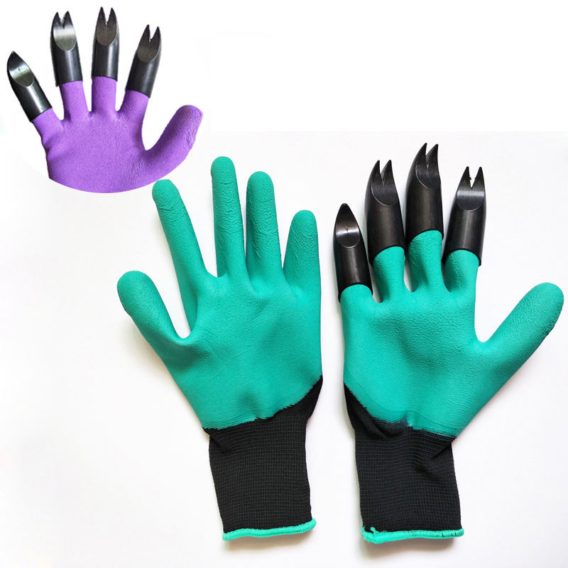 Digging Planting Rubber Foam latex Coated Waterproof Claws Genie Garden Gloves With Claws