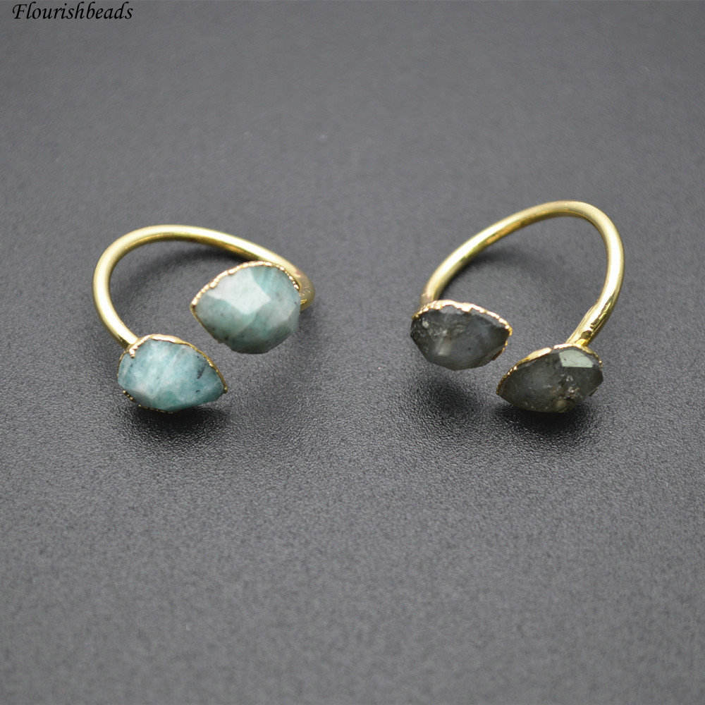 18k Gold plating Natural Amazonite / Labradorite Ring Double Stones Jewelry Fashion Jewelry