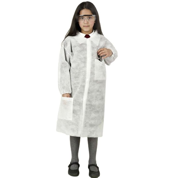 White PP Cheap Disposable Lab Coats Visitor Coat