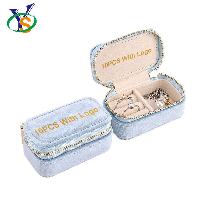 wholesale Retail small girls travelling jewellery box organizer blue jewelry case with logo