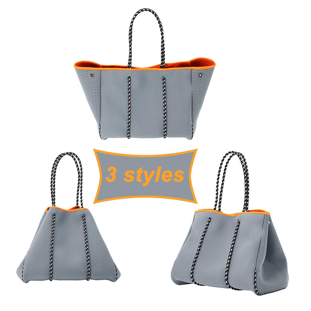Multifunction Neoprene Beach Bag Tote with Inner Zipper Pocket and Movable Board