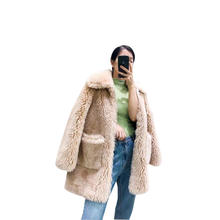 Women Overcoat Real Fox Fur Collar Teddy Jacket Wholesale Sheep Skin Fur Coat Customize Women Shearling Long Coat