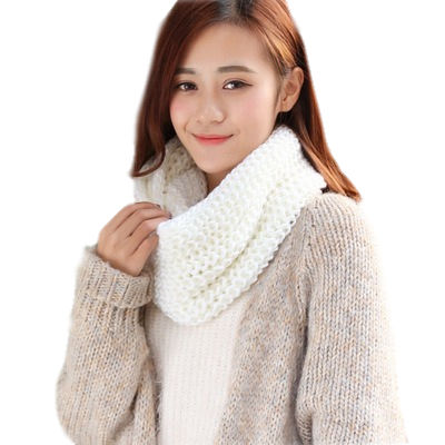 E653 Fashion Women Winter Outdoor Warm Solid Color Knitting Neck Scarves Collar Wool Infinity scarfs Knitted Scarf
