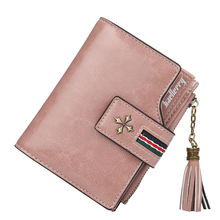 Custom OEM Brand Women Small Short Wallet Leather Clutch Tassel Wallet