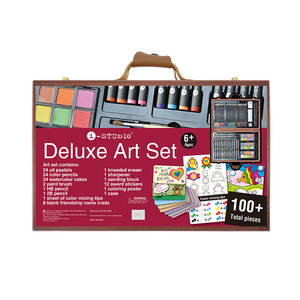 Deluxe Rainbow Wooden Art Set Full Colors Professional Drawing Art Set