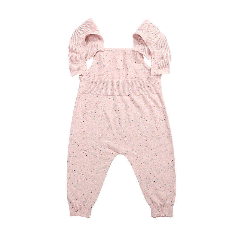 Fall Ruffle Suspender Knitted Baby Onesie Wool Flecked Knit Sweater Jumpsuit Icing Legging Baby Romper