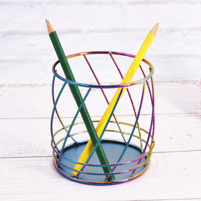 Office Stationery Desk organizer Iron mesh wire metal Pen cup pencil holder