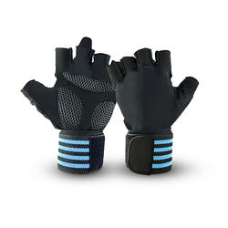 Adjustable Strap Weight Lifting Exercise Half Finger Gloves