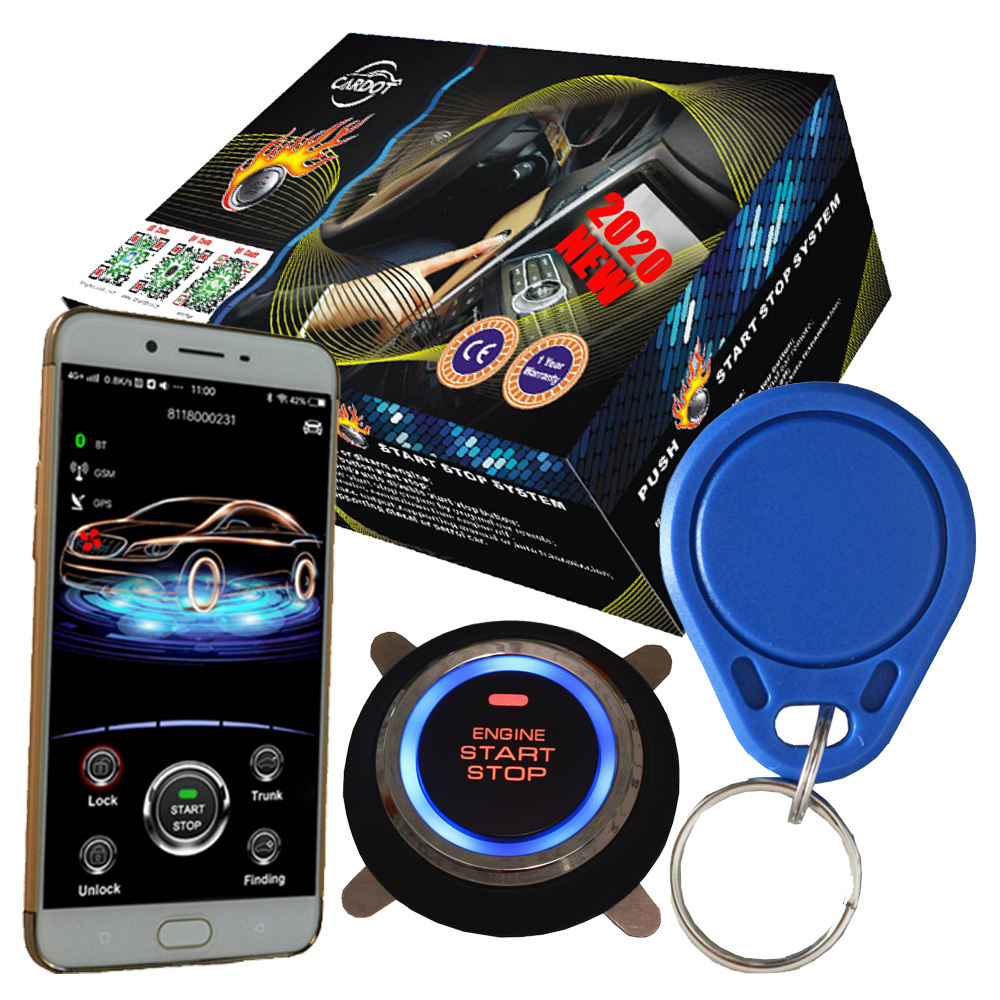 cardot remote start stop engine keyless entry system mobile app control rfid car immobilizer
