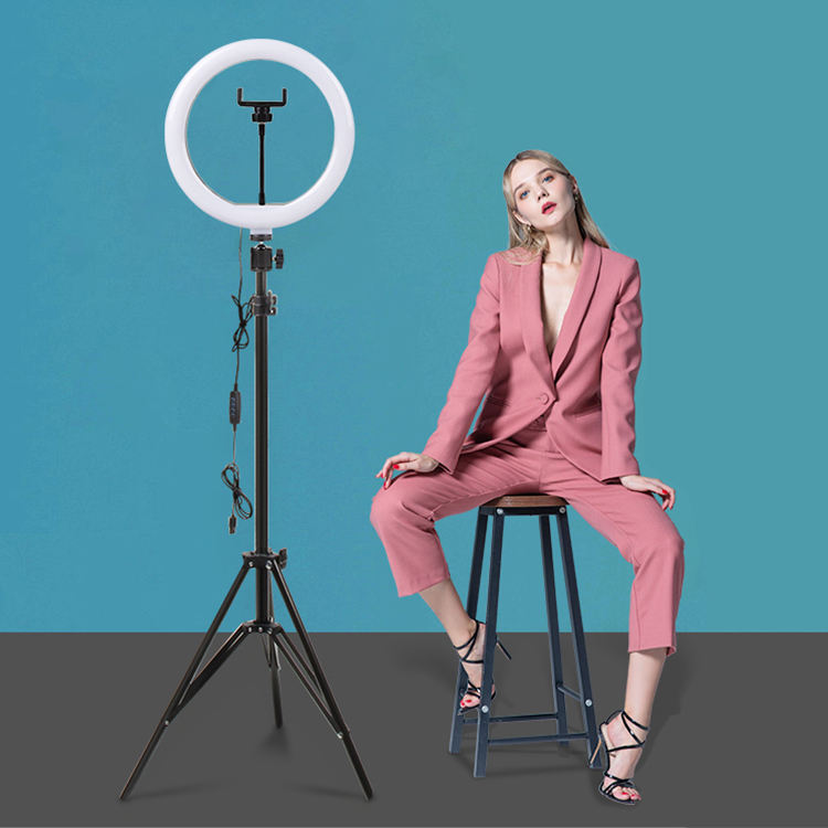 Rohs [ Ring Light Led ] Phone Video 10inch Ring Light Selfie Live Broadcasting Tik Tok Tripod Stand Led Ring Light Lamp With Phone Holder
