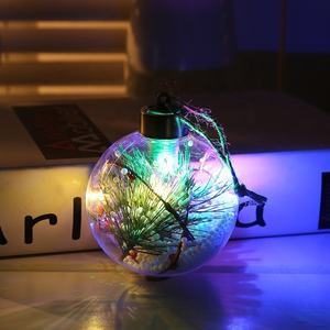 Hot selling Led lighted hand blown clear christmas ball ornaments bulk for christmas tree