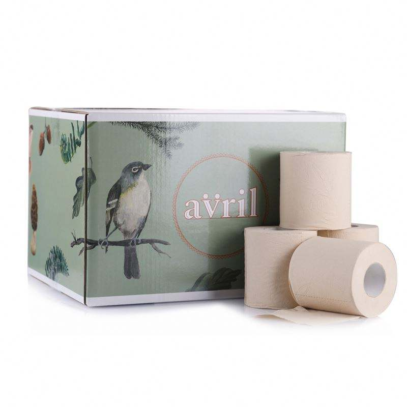 All natural 8 rolls blue double bamboo bathroom tissue