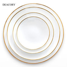 DEACORY High quality wedding tableware decoration gold rim bone china ceramic charger plates