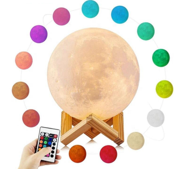YJN5403 Christmas Gift 16 Colours Touch Sensor Remote Control USB Custom Small Led 3D Moon Lamp Night Light For Kids