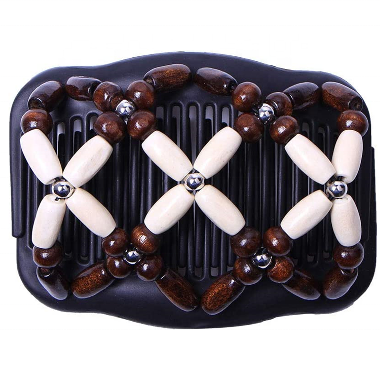 Woven Magic Wood Beads Double Electric Hair Comb Clip