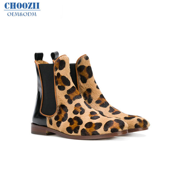 Choozii New Listing Stylish Leopard Print Girls Kids Ankle Boots Handmade Leopard Boots for Girls