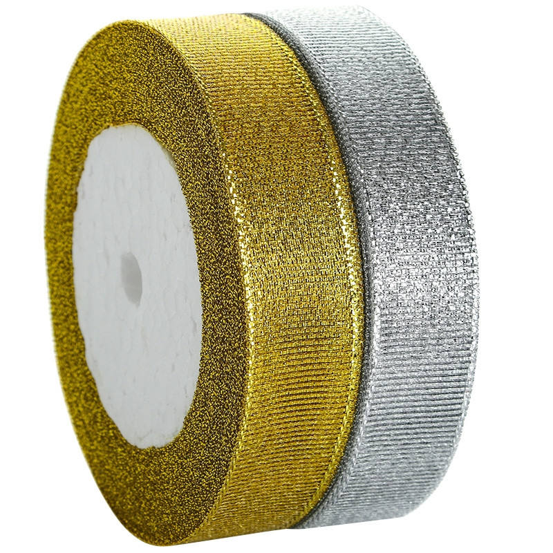 Sotock wholesale 1 inch gold sliver glitter ribbon Gift wrap Colorful metallic ribbon