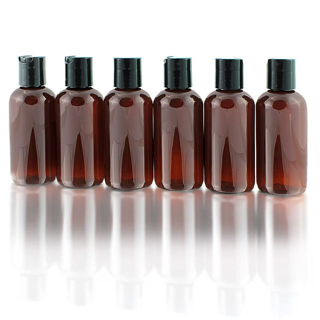 180ml 6oz Amber cosmo round shampoo plastic bottles cosmetic PET bottles with regular smooth snap cap