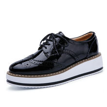 Wholesale Women Flats New British Style Oxford Shoes Women Casual Lace Up Flats Shoes Female Creepers Zapatos Mujer Ladies Shoes