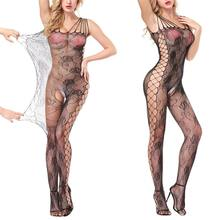 1Pc Sexy Lingerie Hot Open Crotch Bodystocking Fishnet Jumpsuit Flower Teddies Erotic Underwear Lenceria Bodysuit