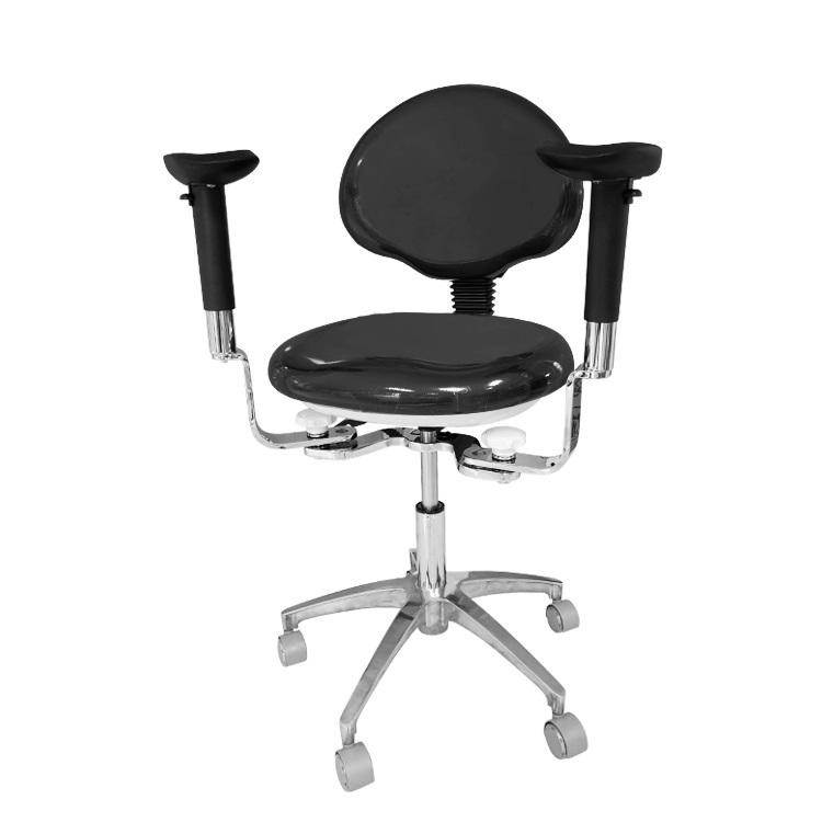 Black pu leather ergonomic backrest swivel medical doctor stool chair with armrest