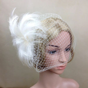 Latest Design Ladies Wedding/Party White Feather Veil Fascinator Bridal Accessories