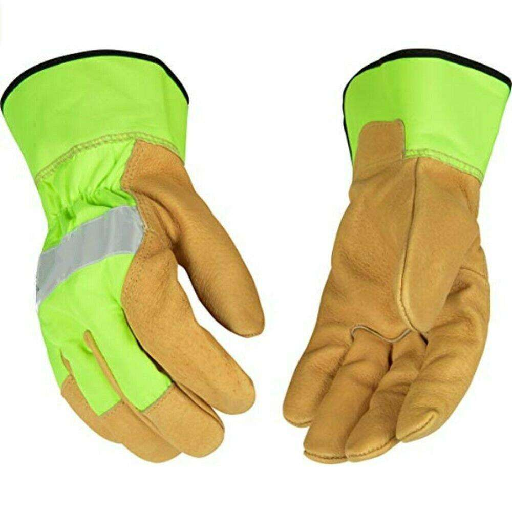 HI-VIS Goatskin Leather Palm Work Glove multi purpose reflected safety working gloves