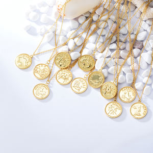 925 Sterling Silver Gold Plated Jewelry Dainty Choker Horoscope Pendant Necklace