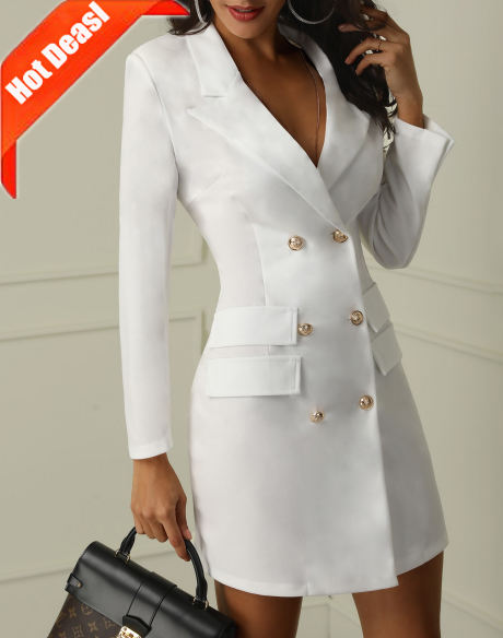 D2924 New Style Button Down Clothes Long Coats Career Dresses Women Blazer Dress