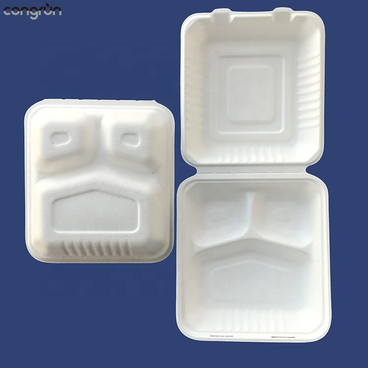 Natural mineral filled 100% disposable food boxes to go sandwich 3 compartments bowl takeout clamshell containers