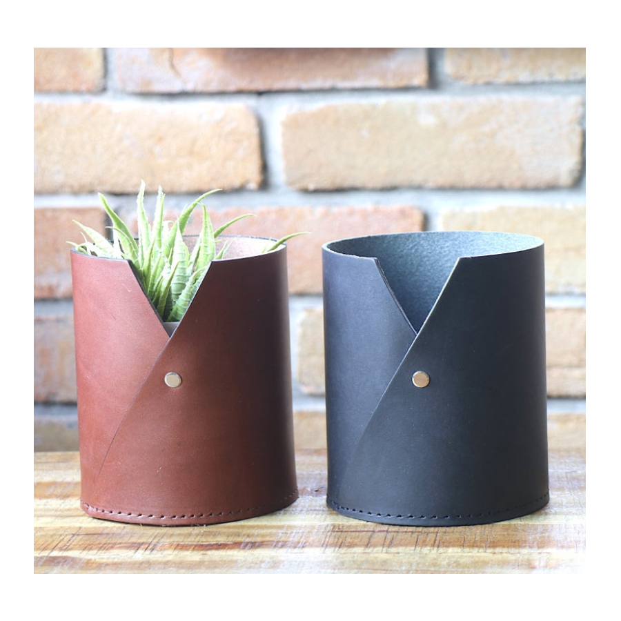 Custom Logo Multi Purpose Leather Cup Glasses Holder Plant Vase Pen Stand Modern Home Interior Home Decor Home & Living