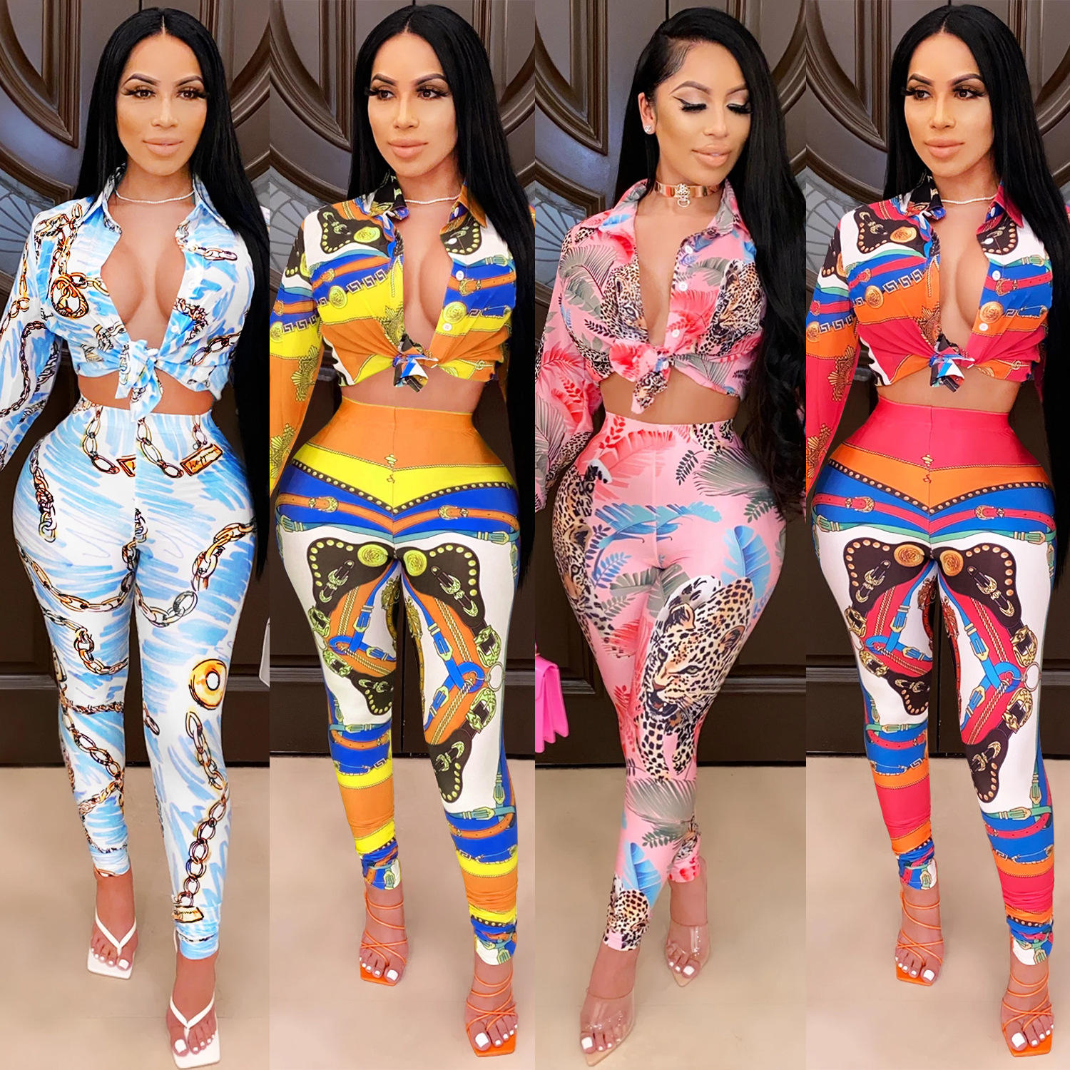 2021 fashion digital printing knot two piece casual set pants set skirt sets women 2 piece outfits