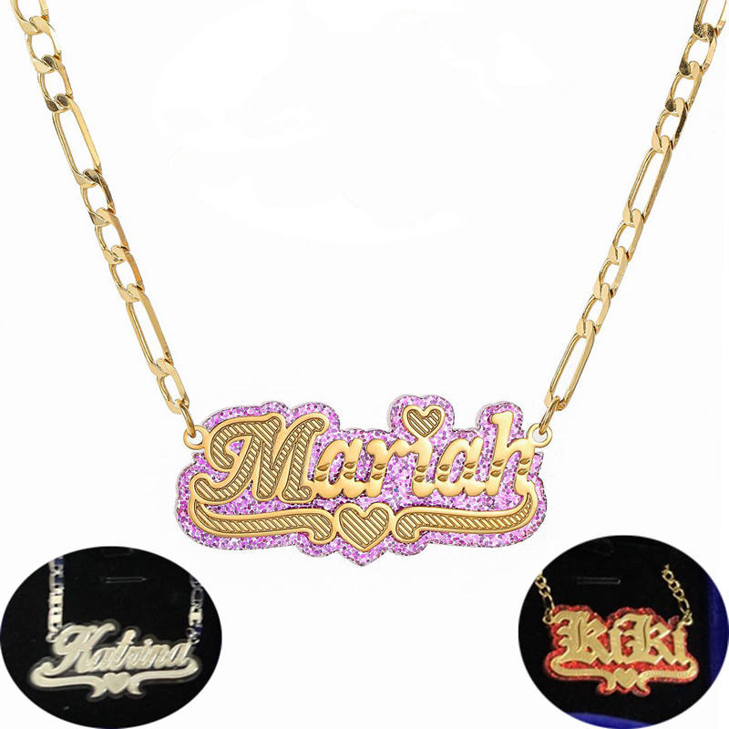 Different Colour Background Acrylic Gold 3D Custom Nameplate Necklace Double Colour Plating Name Necklace Personalized
