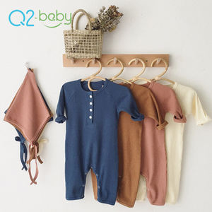 Q2-baby Wholesale Soft Cotton Long Sleeve Jumpsuit Baby Infant Rompers With Hood
