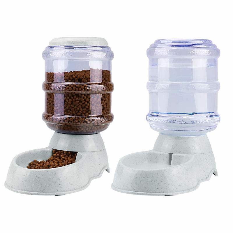 Self-Dispensing Gravity Automatic Family Pet Dog Cat Food Feeder and Waterer Water Dispenser Set