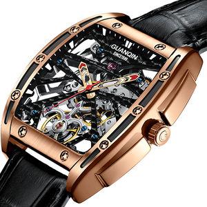 GUANQIN automatique squelette montre mécanique hommes montre top marque de luxe homme montre affaires tourbillon horloge hommes reloj hombre