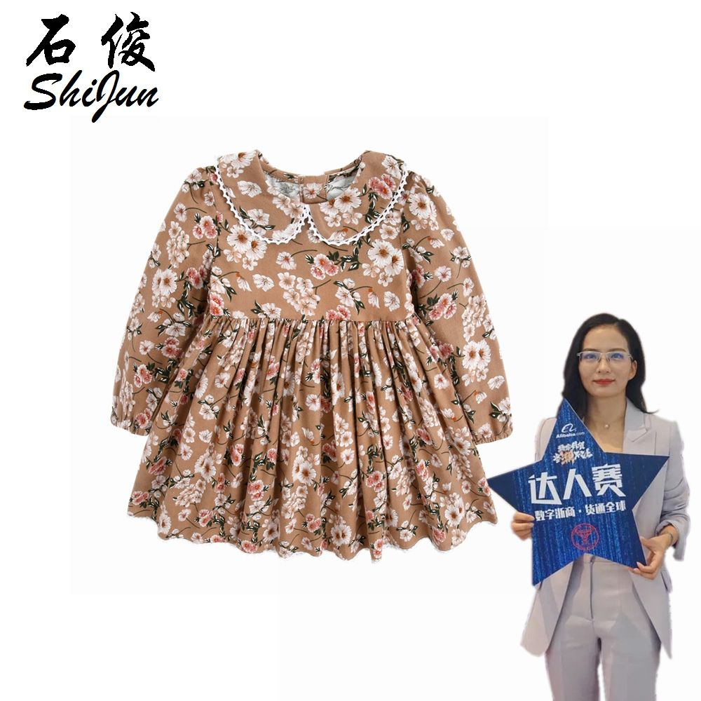 ShiJun Baby Girls Clothes Children Clothing Floral Kids Girl Dress Long Sleeve