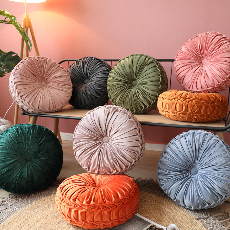 Solid Color Round Velvet Floor Pillows Tufted Soft Thick Not-Slip Chair Pad Tatami Window Pad Daybed Floor Cushion
