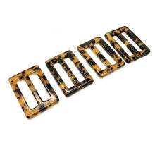 fashion style rectangle shape tri-glide resin tortoiseshell buckles for belt