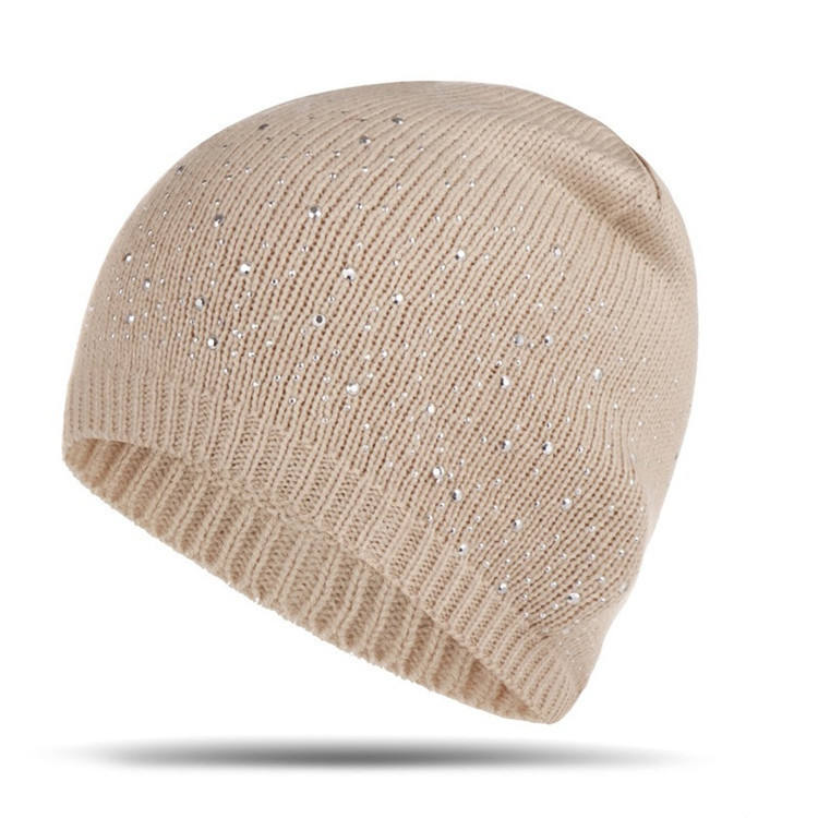 S4884 new fashion winter wholesale pearled beaded knit skull caps plain beanie winter women girls ski caps with sequin