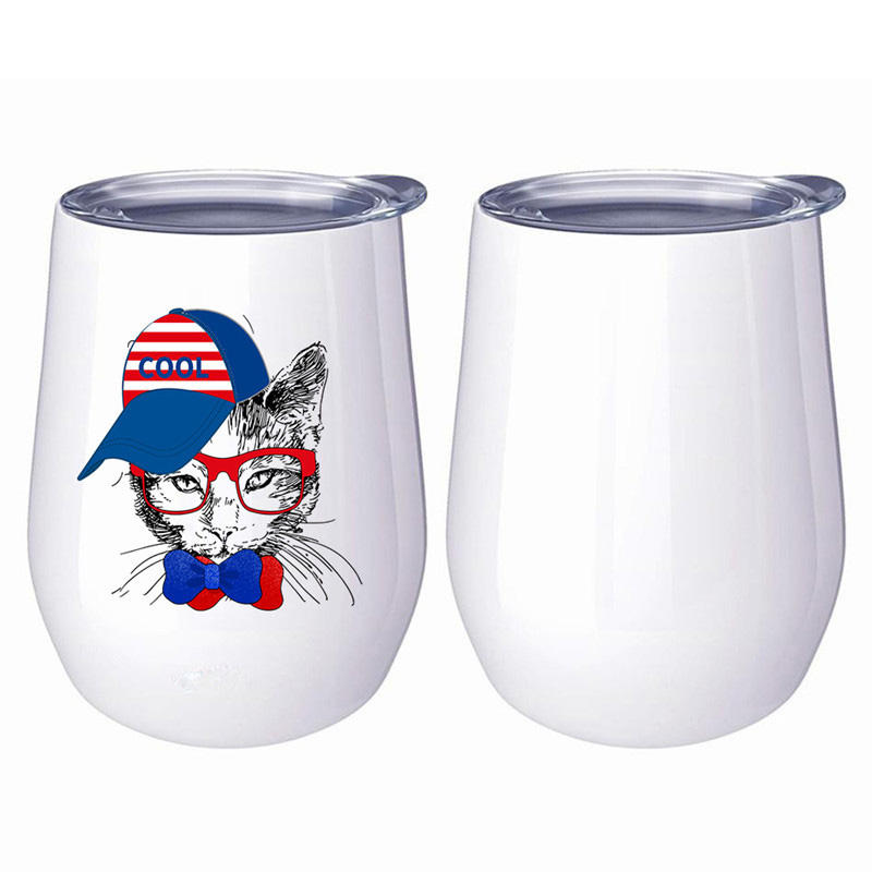 Home set custom wholesale stemless glass blanks white sublimation wine tumbler with lid and straw
