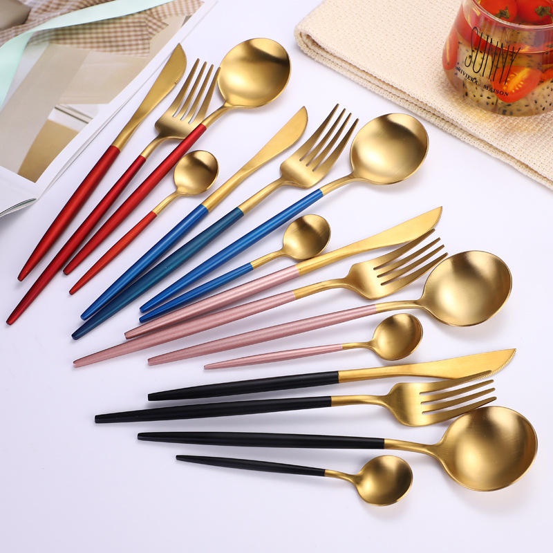 High Quality Plated Colored Stainless Steel Cutlery Set For Restaurant