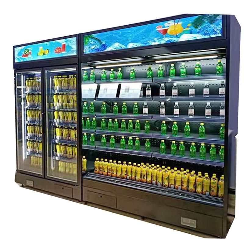 Grocery store glass door display refrigerator for beverage