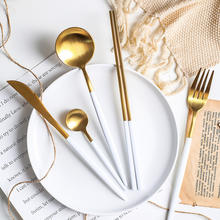 Wedding Event Stainless Steel Dinnerware Spoon and Fork and Knife Pink Gold Reusable Cutlery Set