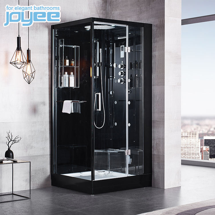 JOYEE 2 person black corner glass bathroom wet steam shower room bath cabin with shower cabin in hotel home